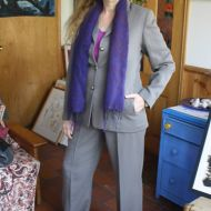Katerina Rubbo modelling her FJ suit happily just purchased from an opportunity shop.  Photo: Mike Rubbo