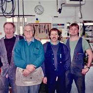 John Moloney, Glen Barker, Brian Fitzgibbon, Andrew Stephenson in the Maintenance section of FJs - 1994.  Shared by Sharon McGowan