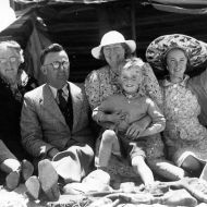 """From left to right - Ralph (my father), Charlotte (Rena's mother), FJ, Rena Jones, David, Lois, Elsa Burger. My father says """"Indeed Elsa and Franz were made to feel that they were part of our family, and my mother introduced Elsa to her friends, and she became well accepted."""" Photo Photo taken by Franz Burger and shared by Ralph Jones Junior"""
