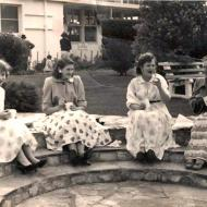Clarice Doman (Adams), Jeanie Dunne, Evelyn Irving (Adams) and Annie Adams enjoying a cuppa in the FJ gardens at one of the Christmas parties, mid 50's.  Annie worked in kilts, while her daughters Clarice and Evelyn worked in trousers with Jeanie.    Photo shared by Ros Doman.