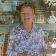 Julie Eagles. FJ Stories Coordinator,  wearing Carly's flower crown at the FJ Christmas Picnic in 2016.  Photo: Deb Eagles