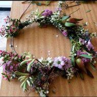 Carly Clifford, granddaughter of Kath Hayes, lives at the back of Fletcher Jones and she made this beautiful flower crown for Julie Eagles to wear in the FJ Community Parade in 2016