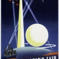 The Trylon and Persiphere from a poster advertising the 1939 New York World Fair.  Image shared by Carol Altmann