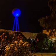 The Silver Ball lit up blue for Autism Awareness Week in 2017.  Photo: Rhonda McDonell