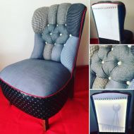 Upholstered chair - Fletcher Jones fabric.  When the chair is plugged into power a Silver Ball image shines in the back!
