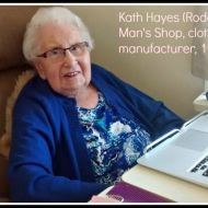 Kath Hayes (Rodgers) worked from the Man's Shop from 1939.  Here she is looking at old FJ photos from the FJ Stories Project on a laptop.  Photo: Carol Altmann