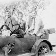 1922, Rena Jones travelling with with FJ staff and Digger the dog!   Photo: Jones Family Collection