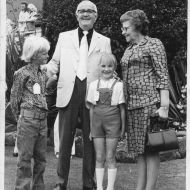 David Jones Jnr (left), Sir Fletcher Jones, Brenda Anderton and Lady Aida Jones at a 1972 Christmas Picnic in the FJ gardens.  Photo shared by Eleanor Anderton