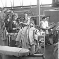 Staff in After Sales at FJs - Dry Cleaning, Reforming and Repair, 1953.  Photo: Jones Family Collection