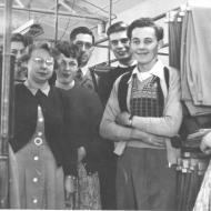 Staff in Dry Cleaning and Aftersales 1953. L-R Edith, Mavis, Cathy, Alec Barber, Geoff, Lawson Ryan and Dulcie Cocking.  Photo Jones Family Collection
