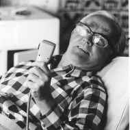 Sir Fletcher recording stories for his autobiography, 1975. Photo: Jones Family Collection