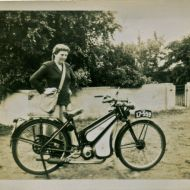 Claire with the two stroke motorbike she rode to work at FJs in the 50s.  Photo: Claire Doecke album