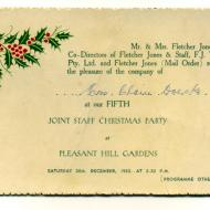 1952 FJ staff Christmas Party invite.  Shared by Clare Trigg (nee Doecke)