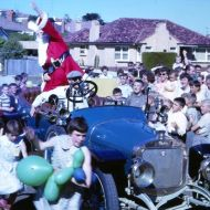 Santa arrives at one of FJs Christmas Parties.  Photo: thanks to Tim Carlton