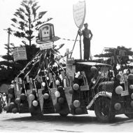 "Depression era parade in Warrnambool with Fletcher Jones float topped by a hat asking ""Is yours Australian?""  Photo: Jones Family Collection"
