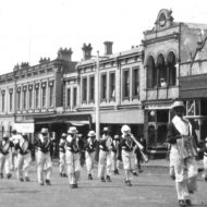 Black faces in a depression parade in Warrnambool - perhaps a clue to the photo of FJ and staff with black faces?  Photo: Jones Family Collection.