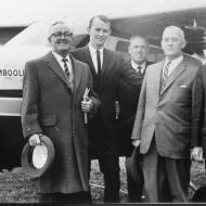 FJ, David Jones, Laurie Mays, Horrie Verey and and Haro Manager with the FJ twin engined Cessna Skylight VH-FJW.  The Warrnamboolian.  Photo:Jones Family Collection.
