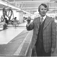 David Jones with the new computer driven cloth cutter in 1975. Photo: Jones Family Collection