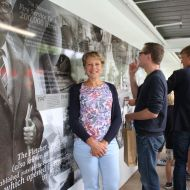 Rena Cotter, granddaughter of Fletcher Jones just after the unveiling of the FJ Story Panel at the 2015 community Christmas picnic in the FJ gardens.  Photo: Colleen Hughson