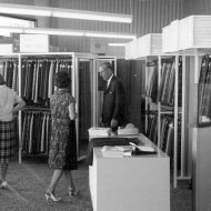 Jack Vicars watches his wife buying a FJ kilt made from Vicars worsted tartan.  Photo: Jones Family Collection
