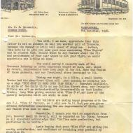 1948 letter sent to customers of Plus 8 trousers inviting their feedback.  Loaned by Lawson Ryan