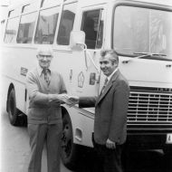 """Luigi Zoran, Manager of the FJ Brunswick factory, presents a cheque to Spastic Centre towards their bus.""""The bus was given to the Northern Districts Spastic Centre in Pascoe Vale and is described by them as 'one of the best Christmas presents ever received.""""  Photo: Jones Family Collection"""