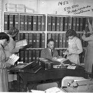 Mail order staff with part of the FJ extensive filing system - 1952.  Photo: Jones Family Collection