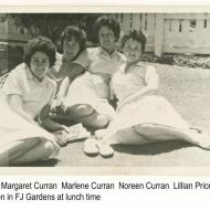 The four Curran sisters from Dennington all worked at Fletcher Jones at the same time.  In the photo, three of the sisters, Margaret, Marlene and Noreen are relaxing with their friend Lillian in the FJ gardens one sunny lunchtime.   Betty joined her sisters at the end of 1960 and she said then all the sisters would have been together in the gardens on a sunny day.Photo shared by Noreen (Curran) Stapleton.