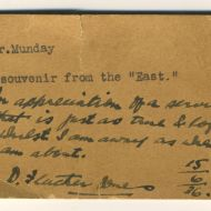A note from FJ to tailor Lance Munday with the souvenir wallet FJ gave him from his trip to Japan to study worker's cooperatives in 1936.  Shared by Lance's granddaughter, Michelle Cust nee Munday