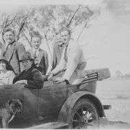 Rena Jones with FJ staff travelling with Digger the dog- not a red retriever so not the dog of this story!  Photo: Jones Family Collection