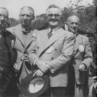 Fletcher Jones (holding hat) at a Rotary Conference, 1950s. Photo: Jones Family Collection