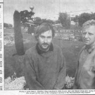 John Leach and Shane Craig face losing their jobs with council proposal to use volunteer gardeners.  Warrnambool Standard April 30, 1992.  Shared by Lawson Ryan