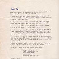A poignant letter from FJ sent to Tim Carlton announcing his intention to marry Aida Wells.  Thanks to Tim Carlton.