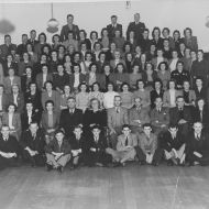 FJ trouser staff 1947 before the move to Pleasant Hill and at the time the author of 'Me and Mr. Jones' joined the staff. Ms Betty Rust is seated 6th from the left in the second row next to Fletcher Jones. Photo: Jones Family Collection