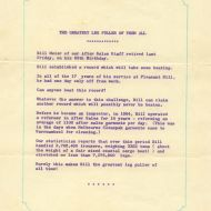 Do You Know - FJ staff bulletin, 1968 telling of William (Bill) Meier's retirement after 17 years with only one day off!  Shared by his grandson, David Thorburn