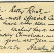 Note from Fletcher Jones to Betty Rust.  Shared by her niece Wilma Williams