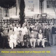 Wally Ferguson, second from left in the back row, with the FJ outdoor staff in 1968.  The factory was self sufficient and had it's own tradesman - plumbers, electricians, carpenters, mechanics.  Photo:Photo shared by Richard Koosje Herlihy