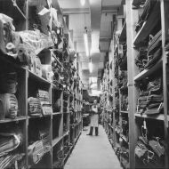 Fabric cellar Pleasant Hill Factory.  The Australian Wool Board award to Fletcher Jones recognised the company as the largest Australian user of fine merino wool. Photo: Jones Family Collection