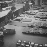 Work Preparation section of FJs.  All cut work passed through this section to be prepared in various ways for the production lines.  Improving manufacturing processes such as these was part of the FJ Methods Engineers' KISS  research!  Photo: Jones Family Collection.