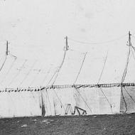 FJs 120ft Marquee with trucks trading at Naracoorte 1923. Photo courtesy of Jones Family Collection