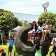 The Robert Ullman sculpture is a favourite with kids!  Photo taken at the 2015 community Christmas party in the gardens.Photo: Warrnambool Standard.