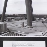 The concrete slab roof showing overhang to provide for fire protection of tower columns.   The slab also serves as a platform for maintenance work and a shield from falling objects.