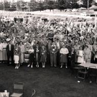 FJ staff Christmas Party in the gardens 1952.  Photo:Jones Family Collection