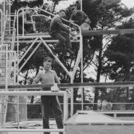 FJ workers made and built the diving board at the Warrnambool swimming pool. Top Left: Ron Tucker, Middle: Dirk Pronk and Les HullBrown, Bottom: Wal Ferguson.  Photo: Dirk and Colleen Pronk