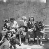 Workers enjoying the gardens at lunchtime.  Back:L-R Minnie Hocking, Jill Cronin, Eilleen Horne, Ruth Millard, Shirley Kelson, Norma Hensley.  Person in front unknown.  Photo: thanks to Ralph and Joyce Jones