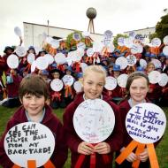 East Warrnambool Primary School kids with their Silver Ball messages in the FJ Gardens in 2012. Image from the Warrnambool Standard