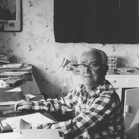 Sir Fletcher working on his autobiography, 1975. Photo: Jones Family Collection