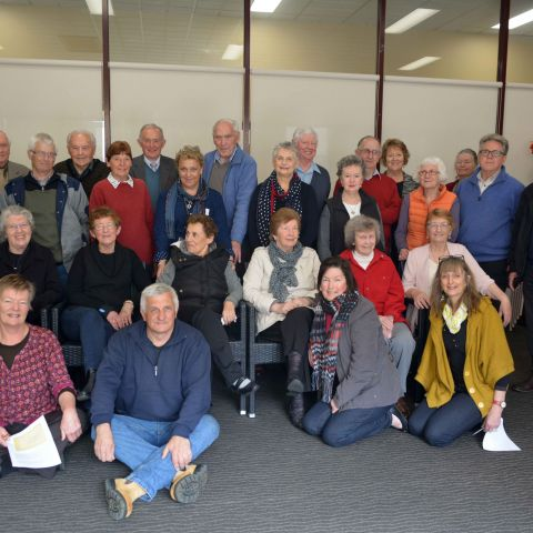 Former FJ employees at the second FJ Stories morning tea held in 2015 along with members of the FJ Stories Steering Group.  Photo: Rhonda McDonell