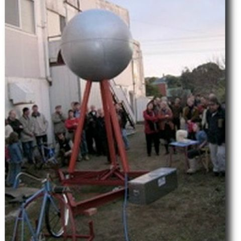 The replica Silver Ball screening a film of the last months of the factory at the FJ site in 2005. Photo:Brenda O''Connor