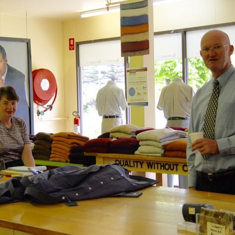 Pat Tonkin and John Hogan inside the Fletcher Jones store at Pleasant Hill, 2005. Photo: shared by Tim Carlton